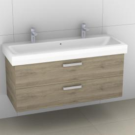 Artiqua 413 Waschtischunterschrank für Doppelwaschtisch mit 2 Auszügen Front sanremo eiche  / Korpus sanremo eiche