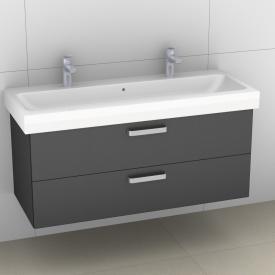 Artiqua 413 Waschtischunterschrank für Doppelwaschtisch mit 2 Auszügen Front stahlgrau metallic / Korpus stahlgrau