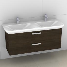 Artiqua 413 Waschtischunterschrank für Doppelwaschtisch mit 2 Auszügen Front mokka struktur / Korpus mokka struktur