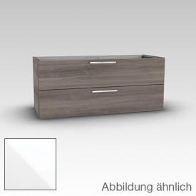 Artiqua 413 Waschtischunterschrank für Doppelwaschtisch mit 2 Auszügen Front weiß hochglanz / Korpus weiß glanz