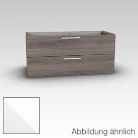 Artiqua 413 Waschtischunterschrank für Doppelwaschtisch mit 2 Auszügen Front weiß glanz / Korpus weiß glanz