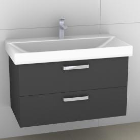 Artiqua 413 Waschtischunterschrank mit 2 Auszügen Front stahlgrau / Korpus stahlgrau