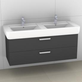 Artiqua 413 Waschtischunterschrank für Doppelwaschtisch mit 2 Auszügen Front stahlgrau / Korpus stahlgrau