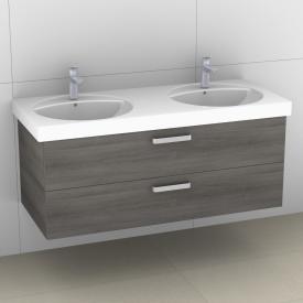 Artiqua 413 Waschtischunterschrank für Doppelwaschtisch mit 2 Auszügen Front graphit struktur / Korpus graphit struktur