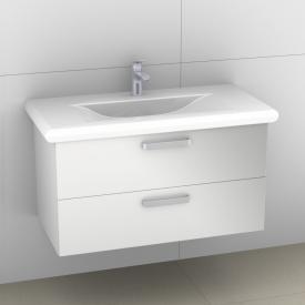 Artiqua 415 Waschtischunterschrank B: 93 H: 48 T: 45 cm, 2 Auszüge, Griff B178 Front weiß hochglanz / Korpus weiß glanz