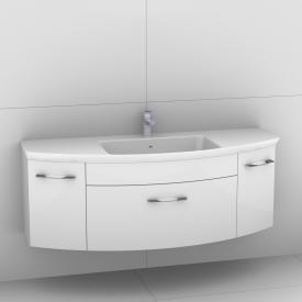 Artiqua 818 Block Waschtisch mit Waschtischunterschrank mit 1 Auzug und 2 Türen Front weiß hochglanz / Korpus weiß glanz