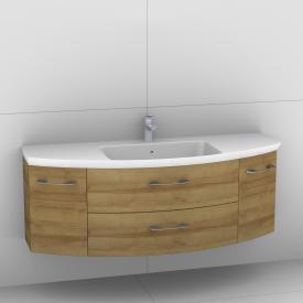 Artiqua 818 Block Waschtisch mit Waschtischunterschrank mit 2 Auszügen und 2 Türen Front riviera eiche / Korpus riviera eiche