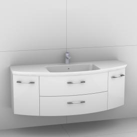 Artiqua 818 Block Waschtisch mit Waschtischunterschrank mit 2 Auszügen und 2 Türen Front weiß hochglanz / Korpus weiß glanz