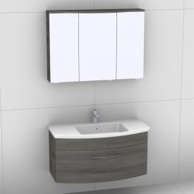 Artiqua 818 Block Waschtisch mit Waschtischunterschrank mit 1 Auszug und LED-Spiegelschrank Front graphit struktur/verspiegelt / Korpus graphit struktur