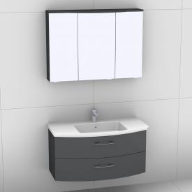 Artiqua 818 Block Waschtisch mit Waschtischunterschrank mit 2 Auszügen und LED-Spiegelschrank Front anthrazit hochglanz/verspiegelt / Korpus anthrazit glanz
