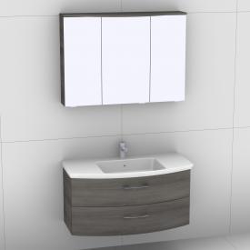Artiqua 818 Block Waschtisch mit Waschtischunterschrank mit 2 Auszügen und LED-Spiegelschrank Front graphit struktur/verspiegelt / Korpus graphit struktur