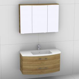 Artiqua 818 Block Waschtisch mit Waschtischunterschrank mit 2 Auszügen und LED-Spiegelschrank Front riviera eiche/verspiegelt / Korpus riviera eiche