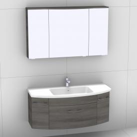 Artiqua 818 Block Waschtisch mit Waschtischunterschrank mit 1 Auszug und 2 Türen und LED-Spiegelschrank Front graphit struktur/verspiegelt / Korpus graphit struktur
