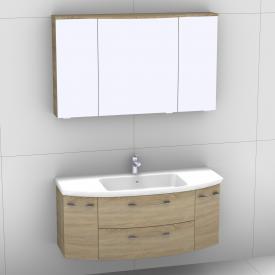 Artiqua 818 Block Waschtisch mit Waschtischunterschran mit 2 Auszügen und 2 Türen und LED-Spiegelschrank Front castello eiche/verspiegelt / Korpus castello eiche