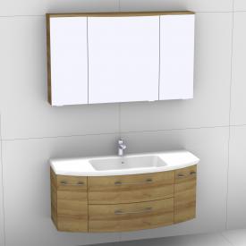 Artiqua 818 Block Waschtisch mit Waschtischunterschran mit 2 Auszügen und 2 Türen und LED-Spiegelschrank Front riviera eiche/verspiegelt / Korpus riviera eiche