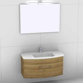 Artiqua 818 Block Waschtisch mit Waschtischunterschrank mit 1 Auszug und Spiegel mit LED-Beleuchtung Front riviera eiche/verspiegelt / Korpus riviera eiche