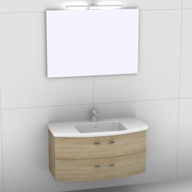 Artiqua 818 Block Waschtisch mit Waschtischunterschrank mit 2 Auszügen und Spiegel mit LED-Beleuchtung Front castello eiche/verspiegelt / Korpus castello eiche