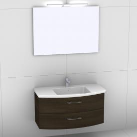 Artiqua 818 Block Waschtisch mit Waschtischunterschrank mit 2 Auszügen und Spiegel mit LED-Beleuchtung Front mokka struktur/verspiegelt  / Korpus mokka struktur