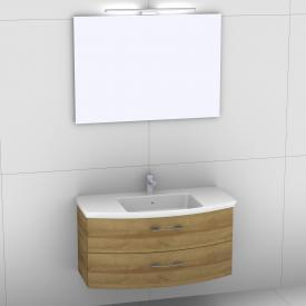 Artiqua 818 Block Waschtisch mit Waschtischunterschrank mit 2 Auszügen und Spiegel mit LED-Beleuchtung Front riviera eiche/verspiegelt / Korpus riviera eiche