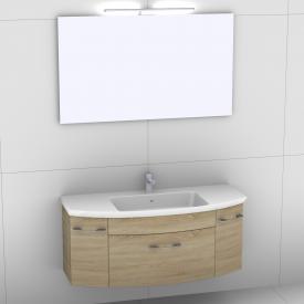 Artiqua 818 Block Waschtisch mit Waschtischunterschrank mit 1 Auszug und 2 Türen und Spiegel mit LED-Beleuchtung Front castello eiche/verspiegelt / Korpus castello eiche