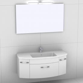 Artiqua 818 Block Waschtisch mit Waschtischunterschrank mit 1 Auszug und 2 Türen und Spiegel mit LED-Beleuchtung Front weiß hochglanz/verspiegelt / Korpus weiß glanz
