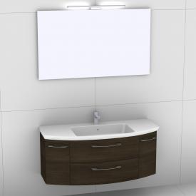 Artiqua 818 Block Waschtisch mit Waschtischunterschrank mit 2 Auszügen und 2 Türen und Spiegel mit LED-Beleuchtung Front mokka struktur/verspiegelt  / Korpus mokka struktur