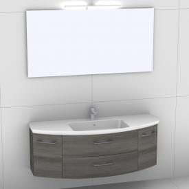 Artiqua 818 Block Waschtisch mit Waschtischunterschrank mit 2 Auszügen und 2 Türen und Spiegel mit LED-Beleuchtung Front graphit struktur/verspiegelt / Korpus graphit struktur