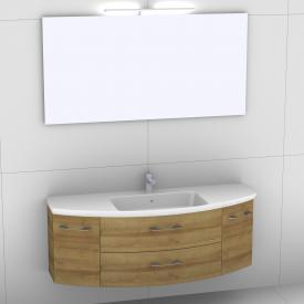 Artiqua 818 Block Waschtisch mit Waschtischunterschrank mit 2 Auszügen und 2 Türen und Spiegel mit LED-Beleuchtung Front riviera eiche/verspiegelt / Korpus riviera eiche