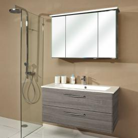Artiqua 822 Mineralmarmor-Waschtisch mit WT-Unterschrank und Spiegelschrank mit LED-Profil Front verspiegelt/graphit struktur / Korpus graphit struktur