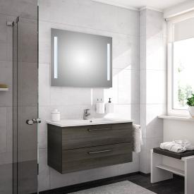 Artiqua 890 Block Waschtisch mit Waschtischunterschrank und LED-Spiegel Front: graphit struktur/verspiegelt, Korpus: graphit struktur