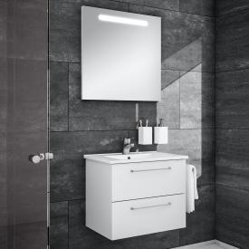 Artiqua 890 Block Waschtisch mit Waschtischunterschrank und LED-Spiegel B: 65 cm Front: weiß glanz/verspiegelt, Korpus: weiß glanz