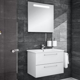 Artiqua 890 Block Waschtisch mit Waschtischunterschrank und LED-Spiegel B: 75 cm Front: weiß glanz/verspiegelt, Korpus: weiß glanz