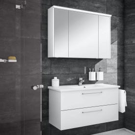 Artiqua 890 Block Waschtisch mit Waschtischunterschrank und LED-Spiegelschrank B:100 cm Front: weiß glanz/verspiegelt, Korpus: weiß glanz