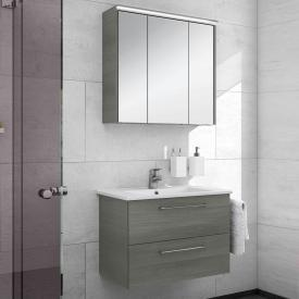 Artiqua 890 Block Waschtisch mit Waschtischunterschrank und LED-Spiegelschrank B:75 cm Front: graphit struktur/verspiegelt, Korpus: graphit struktur