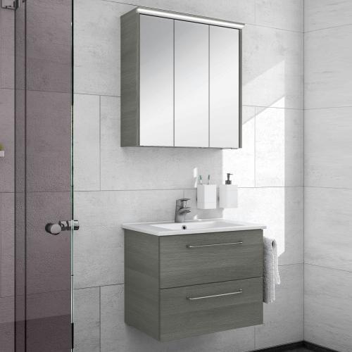 artiqua 890 block waschtisch mit waschtischunterschrank und led spiegelschrank b 65 cm front. Black Bedroom Furniture Sets. Home Design Ideas