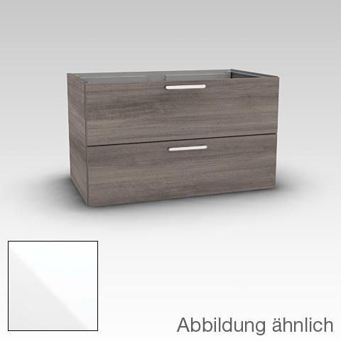 Artiqua 411 Waschtischunterschrank mit 2 Auszügen Front weiß glanz / Korpus weiß glanz
