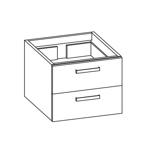 Artiqua 413 Waschtischunterschrank mit 2 Auszügen Front mokka struktur / Korpus mokka struktur