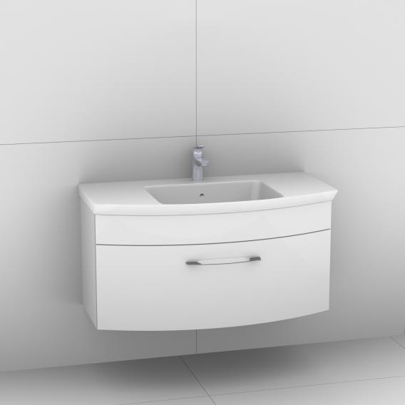 Artiqua 818 Block Waschtisch mit Waschtischunterschrank mit 1 Auzug Front weiß hochglanz / Korpus weiß glanz