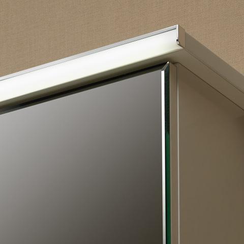Artiqua 822 Mineralmarmor-Waschtisch mit WT-Unterschrank und Spiegelschrank mit LED-Profil Front verspiegelt/weiß glanz / Korpus weiß glanz