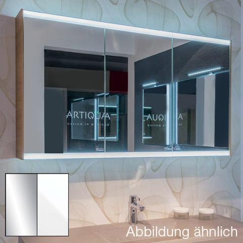 Artiqua 400 LED-Spiegelschrank mit 3 Türen Front verspiegelt / Korpus weiß glanz