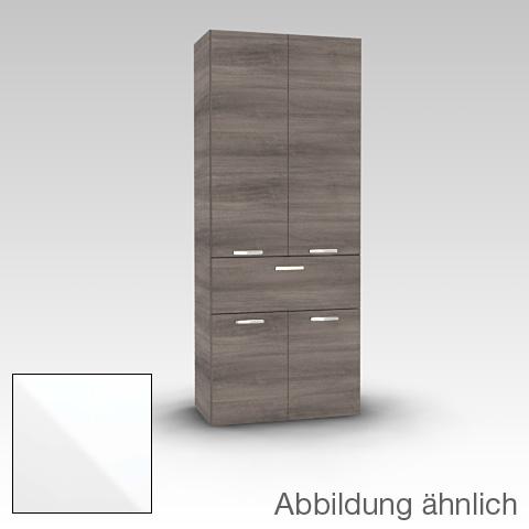 Artiqua 400 Hochschrank mit 4 Türen und 1 Auszug Front weiß hochglanz / Korpus weiß glanz
