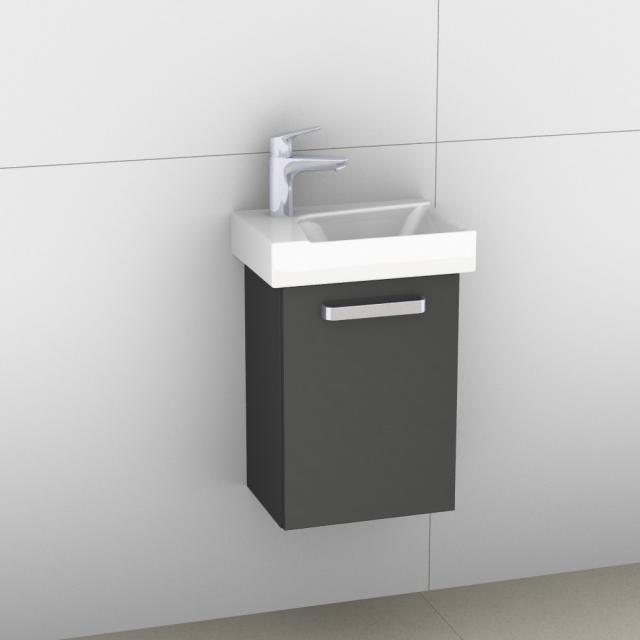 Artiqua 413 Handwaschbeckenunterschrank mit 1 Tür Front anthrazit hochglanz / Korpus anthrazit glanz