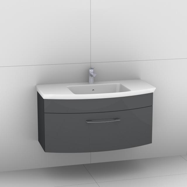 Artiqua 818 Block Waschtisch mit Waschtischunterschrank mit 1 Auzug Front anthrazit hochglanz / Korpus anthrazit glanz