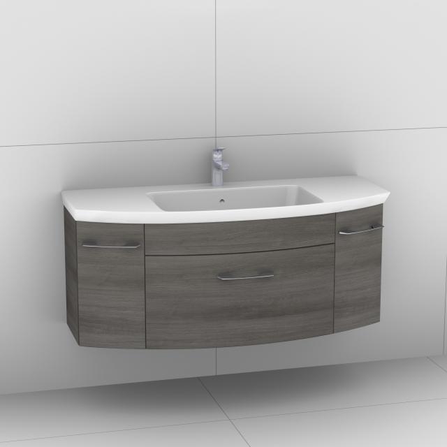 Artiqua 818 Block Waschtisch mit Waschtischunterschrank mit 1 Auzug und 2 Türen Front graphit struktur / Korpus graphit struktur