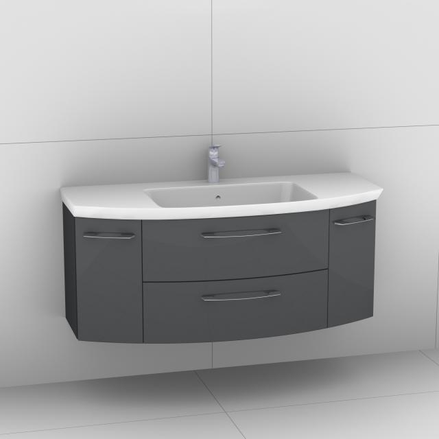 Artiqua 818 Block Waschtisch mit Waschtischunterschrank mit 2 Auszügen und 2 Türen Front anthrazit hochglanz / Korpus anthrazit glanz