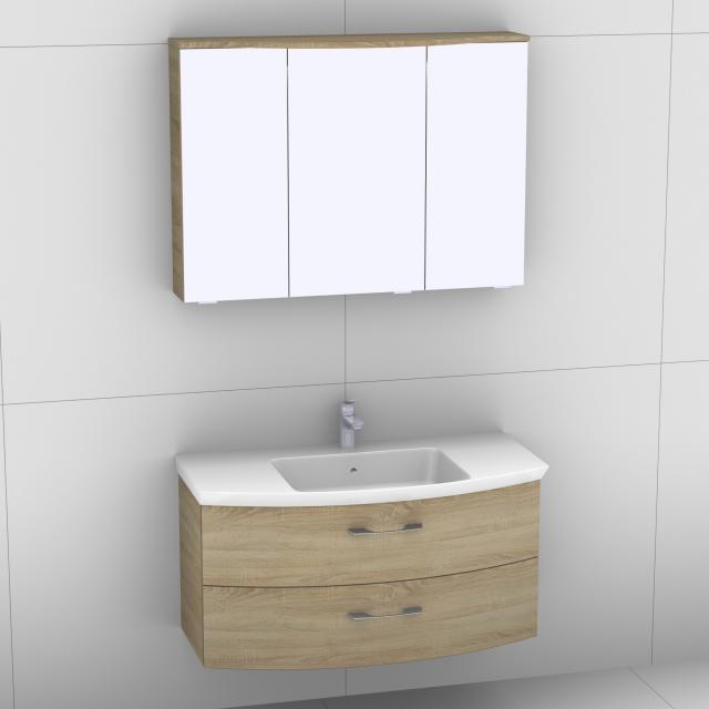 Artiqua 818 Block Waschtisch mit Waschtischunterschrank mit 2 Auszügen und LED-Spiegelschrank Front castello eiche/verspiegelt / Korpus castello eiche