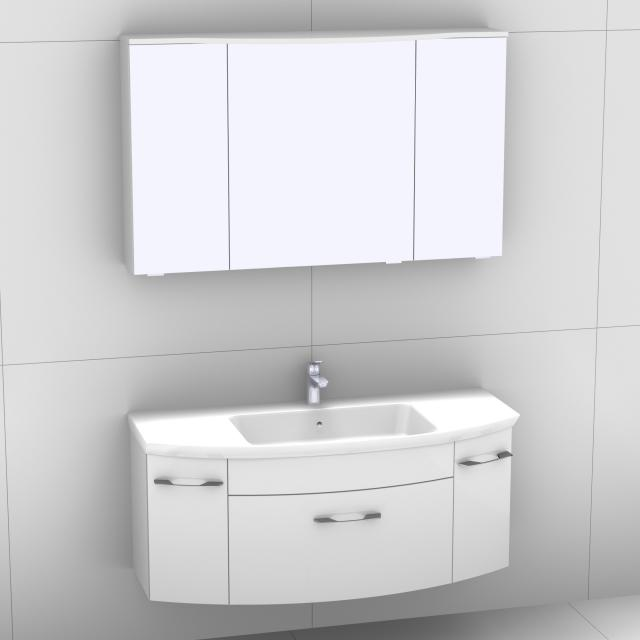 Artiqua 818 Block Waschtisch mit Waschtischunterschrank mit 1 Auszug und 2 Türen und LED-Spiegelschrank Front weiß hochglanz/verspiegelt / Korpus weiß glanz