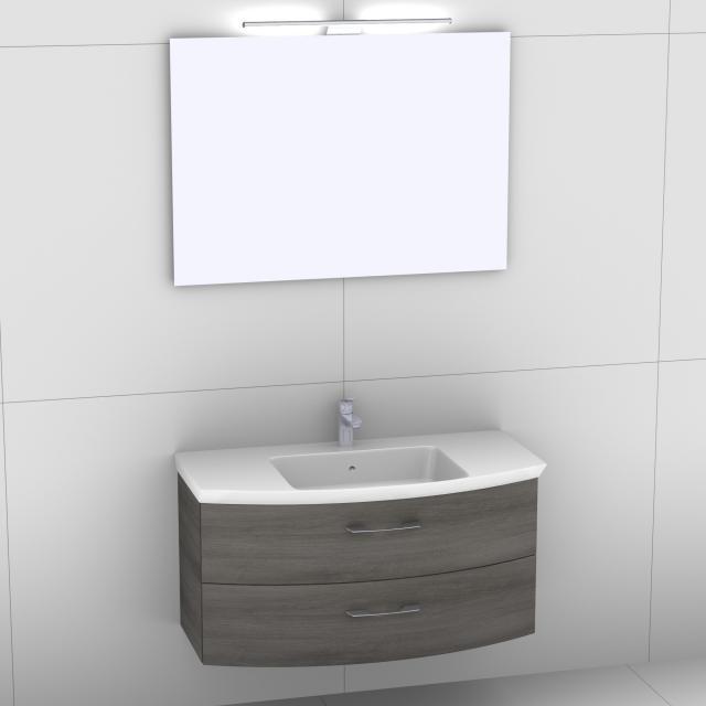 Artiqua 818 Block Waschtisch mit Waschtischunterschrank mit 2 Auszügen und Spiegel mit LED-Beleuchtung Front graphit struktur/verspiegelt / Korpus graphit struktur