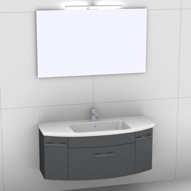 Artiqua 818 Block Waschtisch mit Waschtischunterschrank mit 1 Auszug und 2 Türen und Spiegel mit LED-Beleuchtung Front anthrazit hochglanz/verspiegelt / Korpus anthrazit glanz