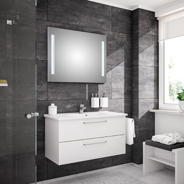 Artiqua 890 Block Waschtisch mit Waschtischunterschrank und LED-Spiegel Front: weiß glanz/verspiegelt, Korpus: weiß glanz